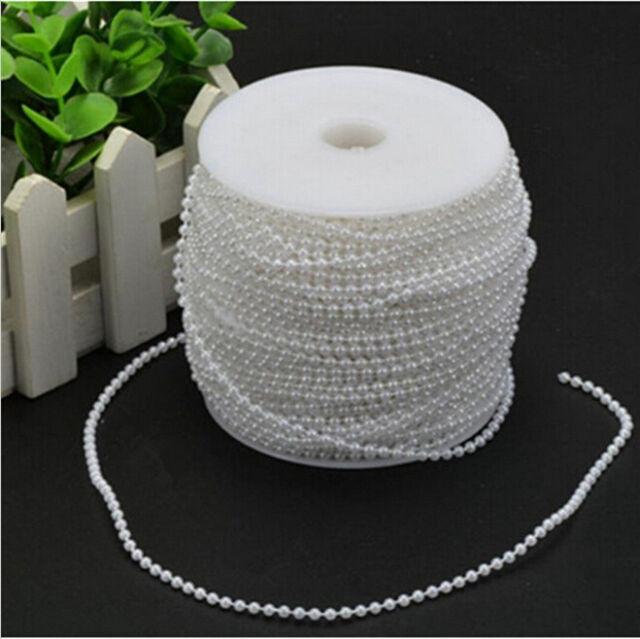 "12 Strand 60/"" Craft 3mm Pearl Bead String//Trim//Wedding//Decoration//Bow B37-White"