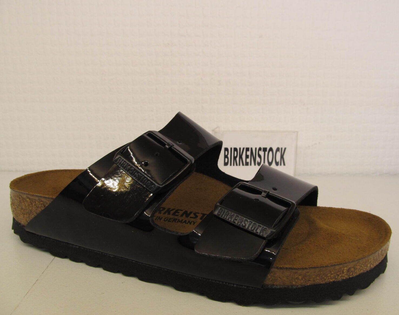 Birkenstock Arizona Negro Patente Cuero Correa de 2 Bs plantilla Resbalón En Sandalias