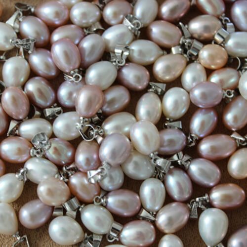Natural Freshwater Pearl Pendants for women necklace 8-9mm teardrop Silver Bail
