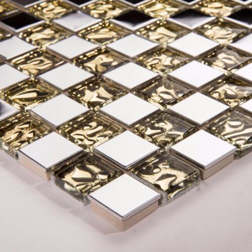 Polished Steel /& Patterned Gold Glass Mosaic Tile Sheet 300x300x8mm MT0157