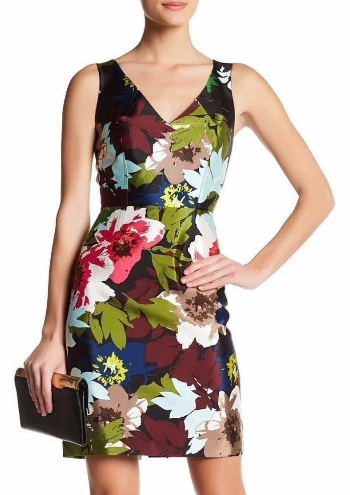 TRINA TURK Womens Cosima Sheath Floral Print Dress Sleeveless Silk Size 10