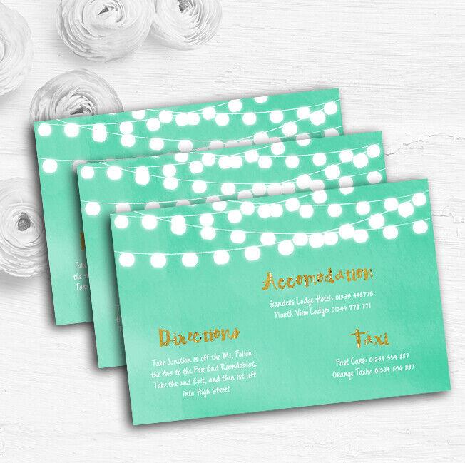 Mint Grün & Gold Lights Watercolour Wedding Guest Information Cards