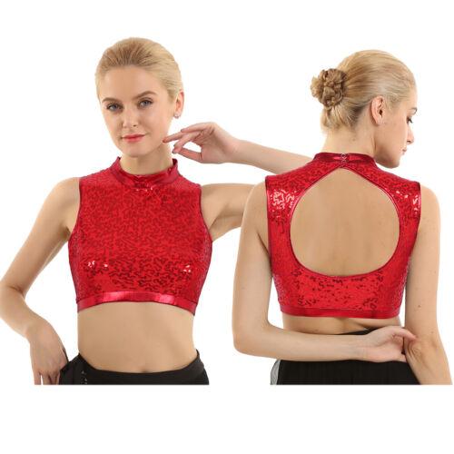 Women Shiny Sequins Rave Dance Crop Top Mock Neck Camisole Vest Tank Top Blouse