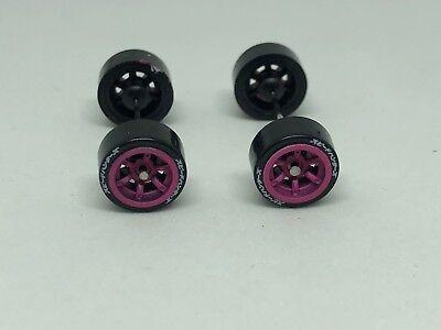 Tires 1:64 Wheels Pink Fluor Kit Four Hot Wheels Inno Tarmac