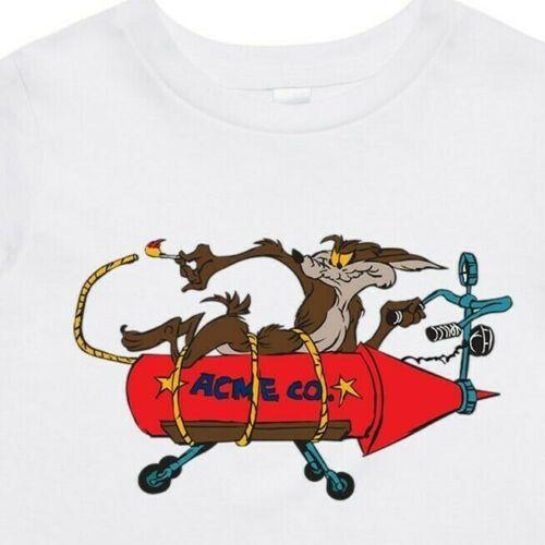 Boys Kids AS Colour T shirt Coyote on rocket Girl Teen cartoon Road runner