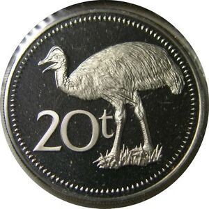 elf Papua New Guinea 20 Toea 1975 FM  Proof Bird
