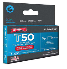 "NEW! ARROW Stainless Steel Staples 1/4"""" T50 #504SS1"