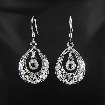 Womens Elegant 925 Solid Silver Oval Hollow Drop Dangle Earrings Jewelry Gift