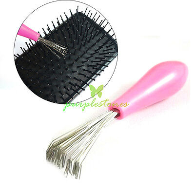 Pink Comb Hair Brush Cleaner Cleaning Remover Embedded Tool Plastic Handle