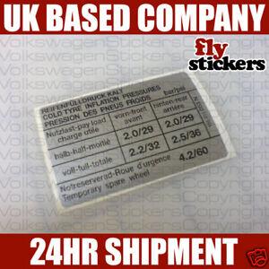 VW Tyre Pressure Sticker 155 010 053 N
