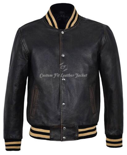 in vera Elegante Fit Smart vera da giacca uomo in strass pelle nero Biker con 100 qf8HwRxx