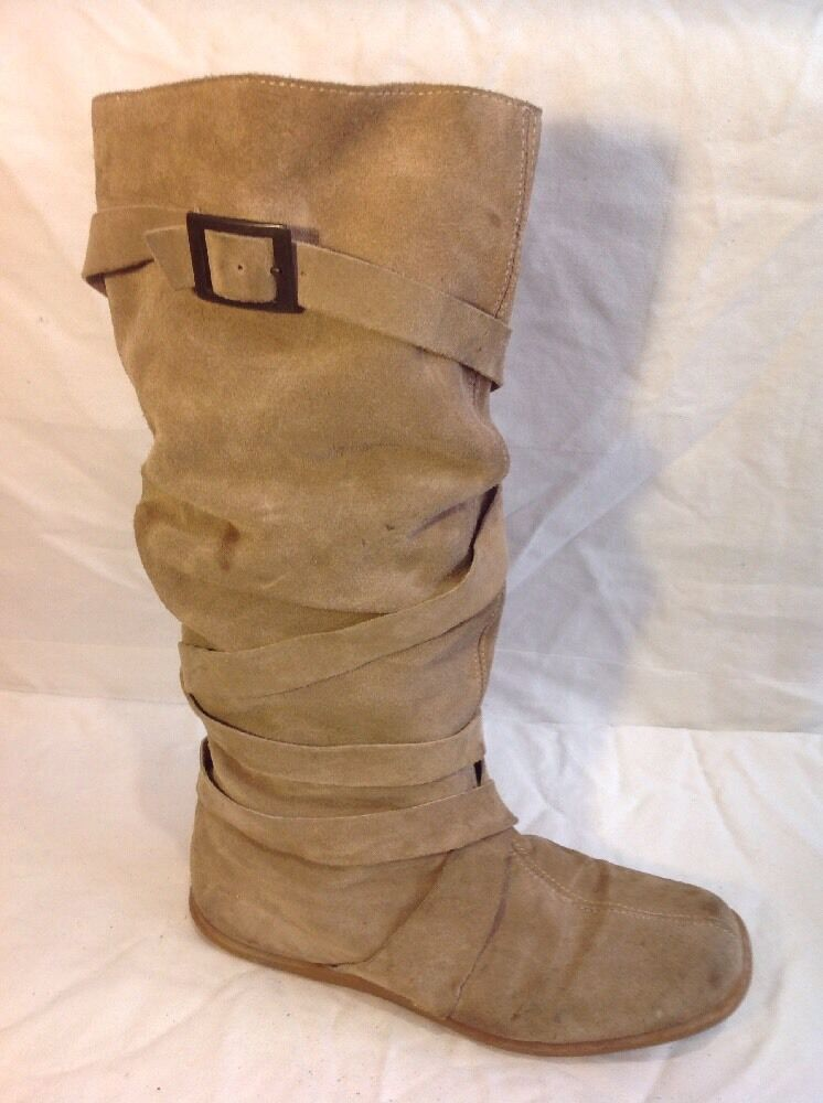 Ladies Brown Mid Calf Suede Boots Size 37