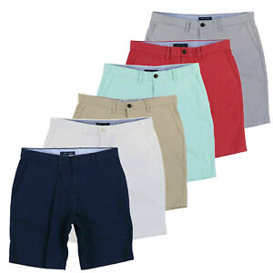 Tommy-Hilfiger-Mens-Chino-Shorts-Flat-Front-Classic-Stretch-Fit-Logo-Bottoms-New