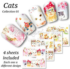 4x Full Cover Nail Art Water Stickers Wraps Transfers Cats Cat Feline Cute Z220