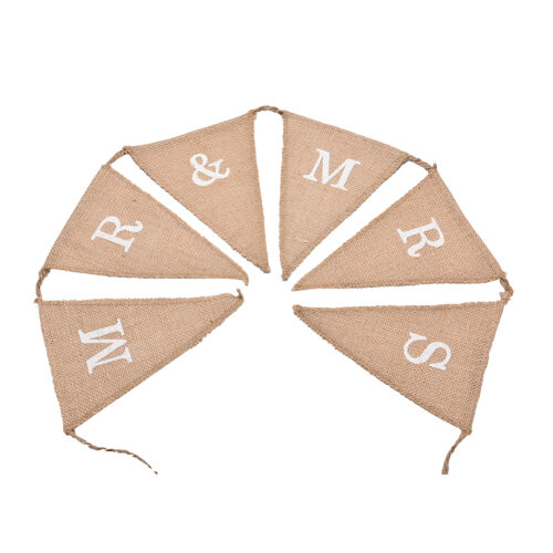 Hessian Burlap Rustic Wedding Party Decoration MR and MRS Bunting Banner Sign LU