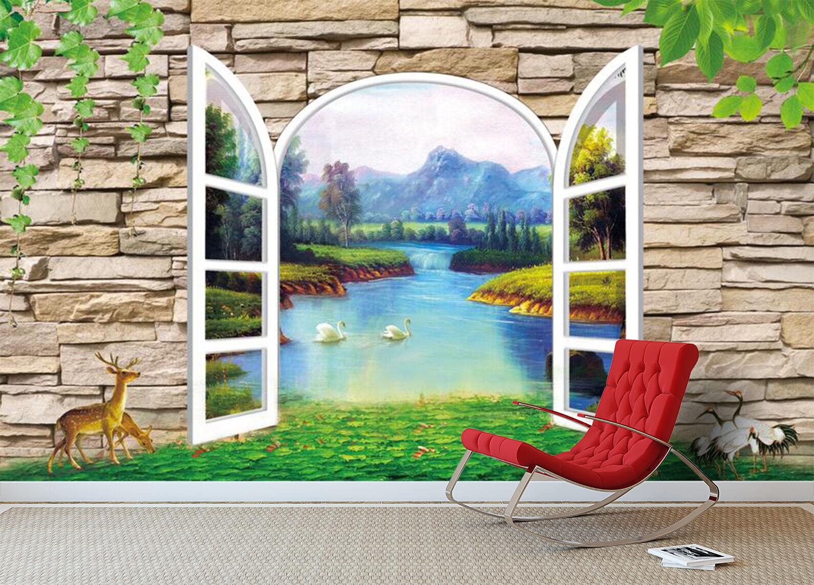 3D Fenster Ziegel Fluss 556 Tapete Tapeten Mauer Foto Familie Tapete Wandgemälde