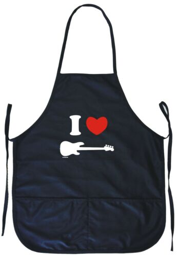 I Heart Love 1951 Bass Guitar Logo Cooking Apron With Pockets