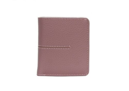 First layer cowhide woman/'s short wallet leather buckle ultra thin wallet