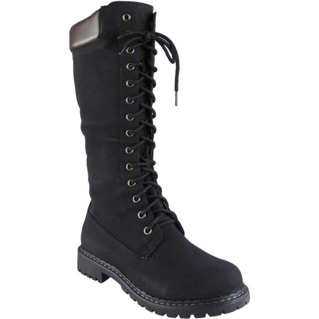cf81324cfac9 Womens Mid Calf BOOTS Ladies Lace up Low Heel Combat Winter Flat ...