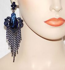 GLAMOROUS BLUE SAPPHIRE RHINESTONE CRYSTAL CHANDELIER FASHION PARTY EARRINGS