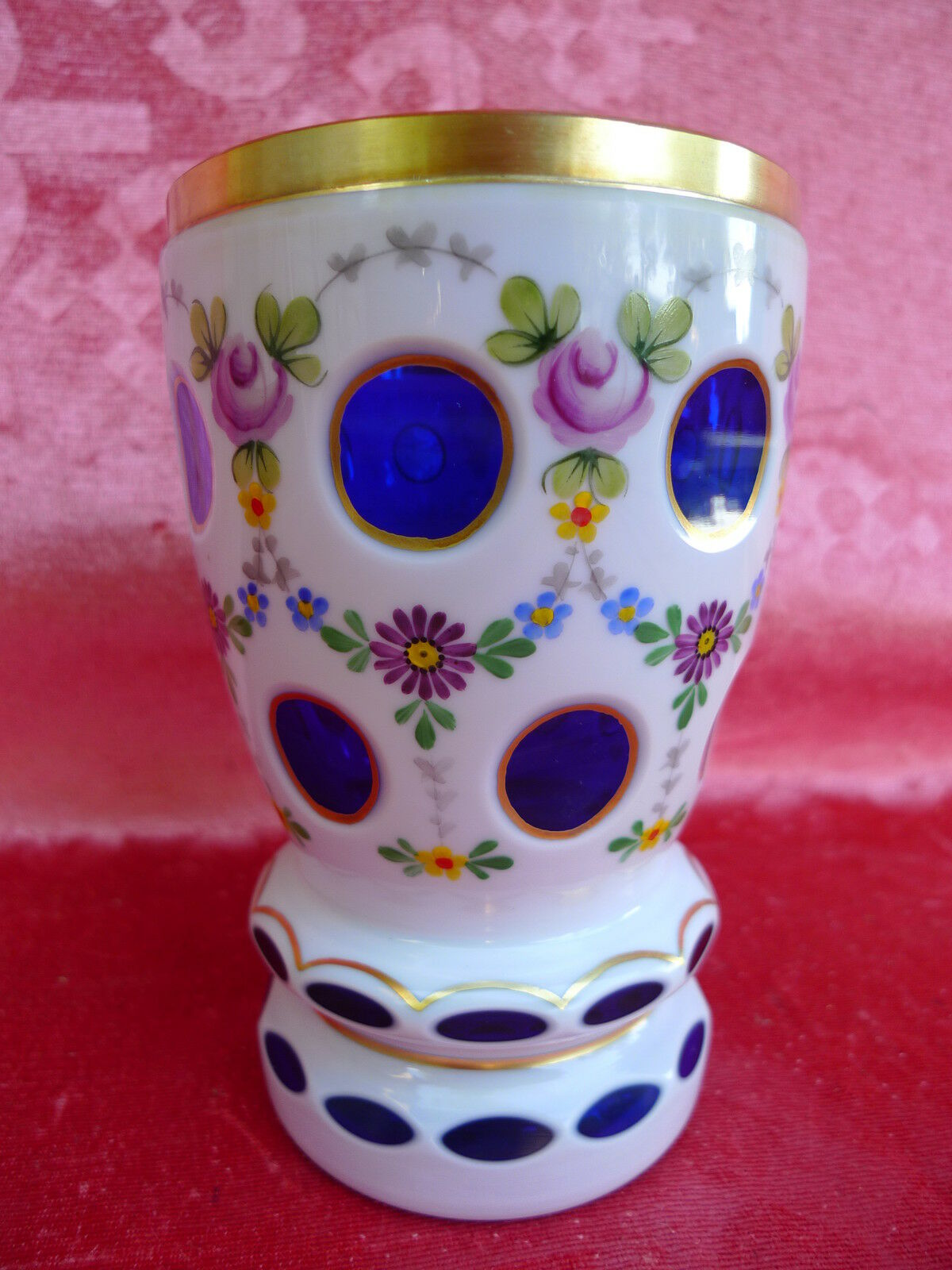 Belle kristall-becher __ chalice __ hand painted __ 14, 5cm __