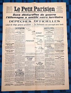 La-Une-Du-Journal-Le-petit-parisien-3-Aout-1914-Allemagne-Envahi-Territoire