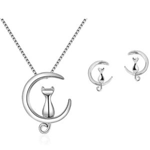 Cat-Moon-Stud-Earring-Pendant-Necklace-925-Sterling-Silver-Womens-Jewellery-Gift