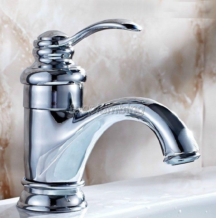 Chrome poli laiton salle de bains bassin Robinet de navire évier mélangeur robinets tnf058