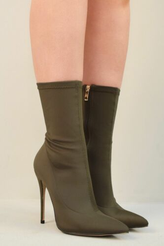 Ladies Womens High Heel Stiletto Fashion Winter Skinny Jeans Ankle Boots Shoes