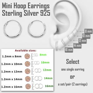 77d727b3e Mini Hoop Earring Sterling Silver 925 8mm 10mm 12mm 14mm 16mm Small ...