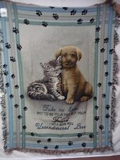 USA Made NWT Paws For A Cause Tapestry Throw Blanket Afghan #355