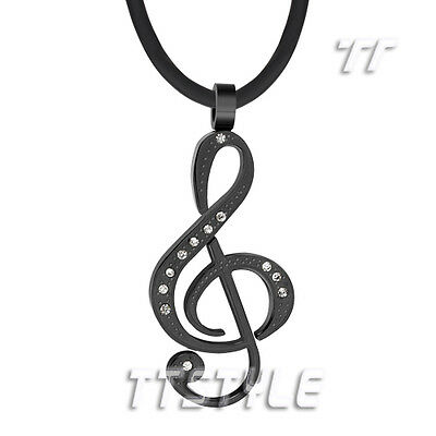 TTstyle Black Stainless Steel Music Note Pendant Necklace