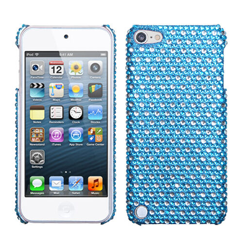 For iPod Touch 5 5th gen Crystal Diamond BLING Hard Case Snap On Cover Blue Dots