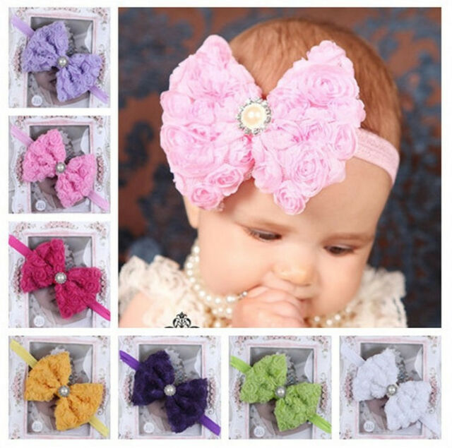 7pcs Baby Girl Kids Toddler Flower Bowknot Headband Hair Band Bow Accessories