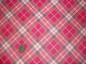 """Antique Cotton Fabric SHADES OF PINK AND WHITE PLAID 1 Yd/34"""" Wide"""
