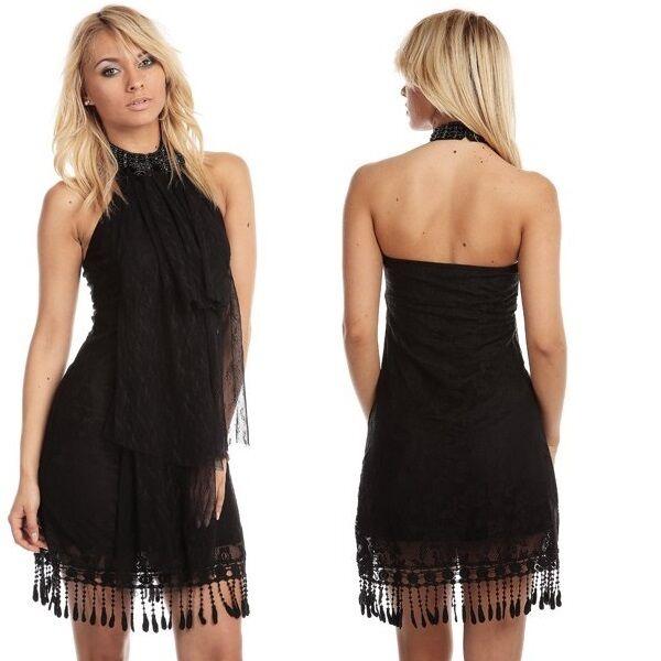 493 PARTY CLUBBING SLEEVELESS HALTERNECK LACE BLACK DRESS SIZE S & M