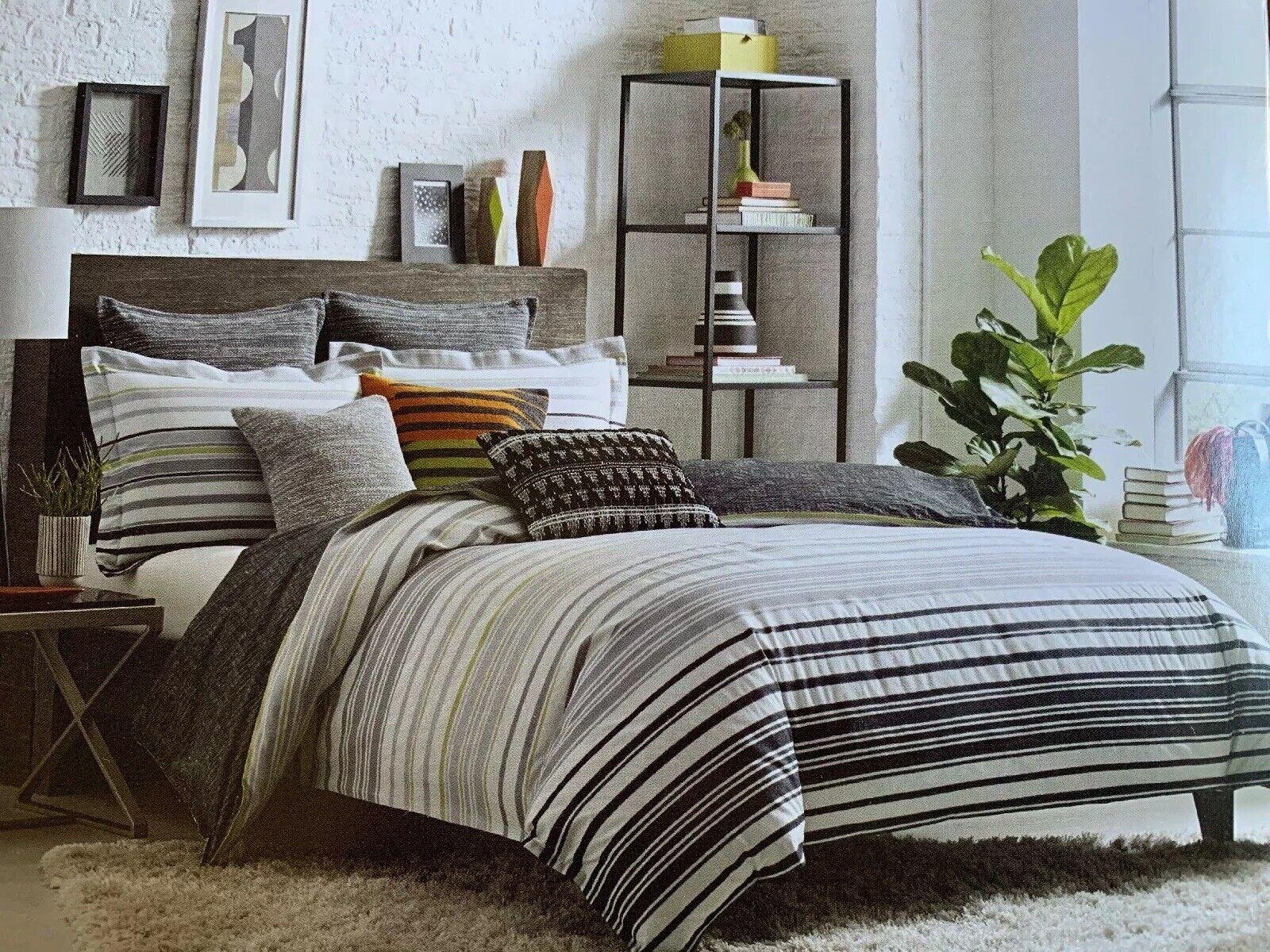 KAS Room Arlo King Duvet Cover Cotton Stripes Gray White Green New