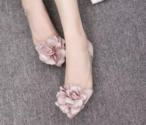 Chic-New-Women-Transparent-Flowers-Flat-Pull-On-Pumps-Sweet-Pointed-Toe-Shoes