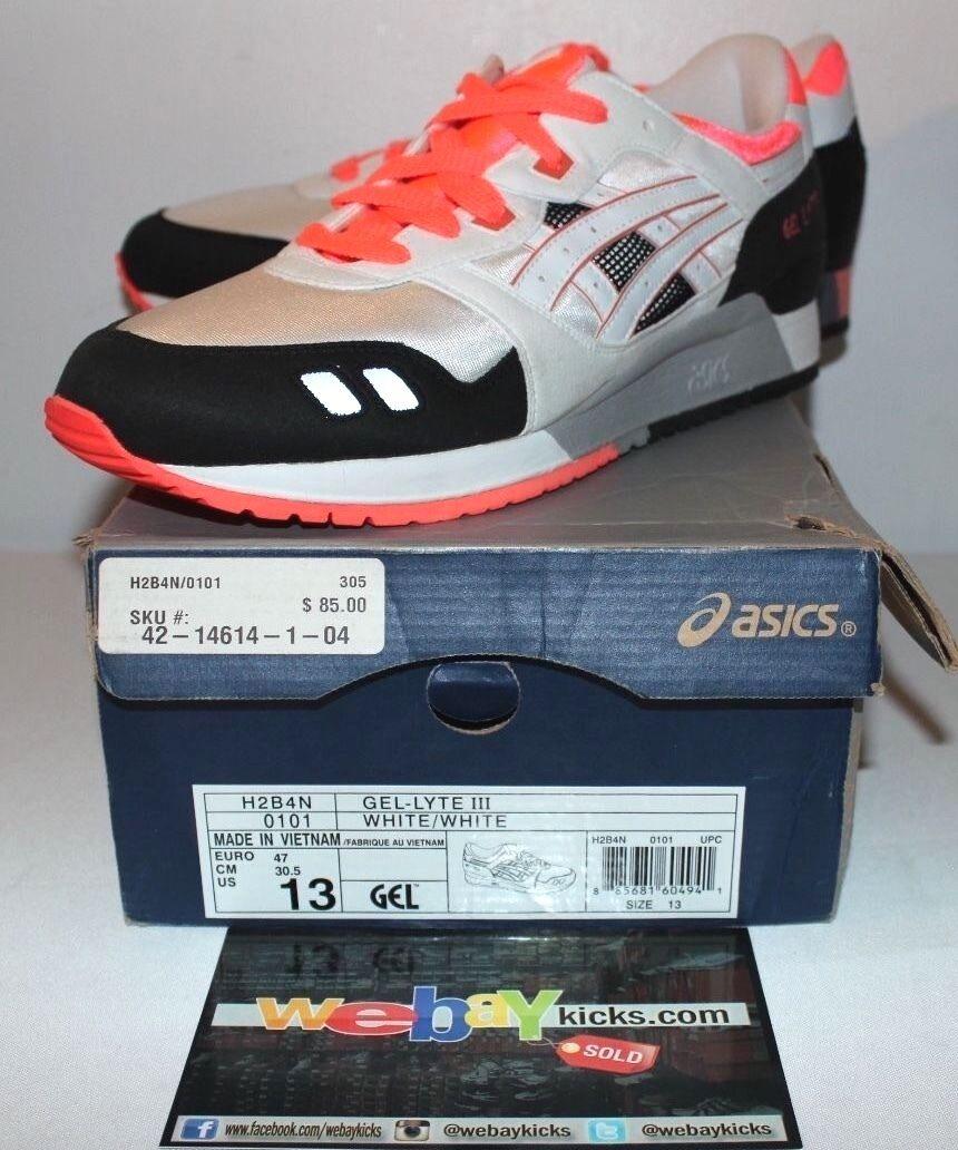 Asics Gel Lite 3 III White Black Infrared H2B4N Sneakers Mens Size Brand New