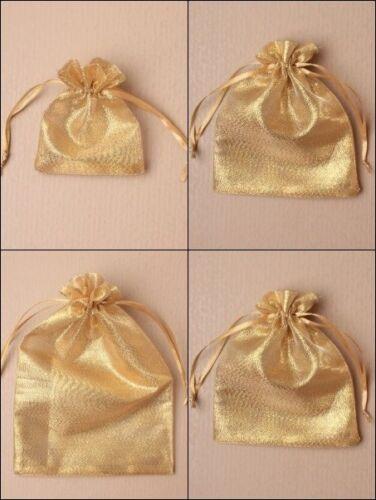 Or Brillant Organza Avec Cordon De Serrage Sac Faveur Mariage Bonbons Cadeau En Gros