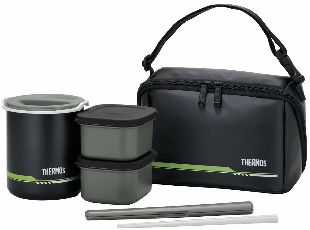 THERMOS Thermal Lunch box Bento Jar Insulation food container pouch schwarz Japan