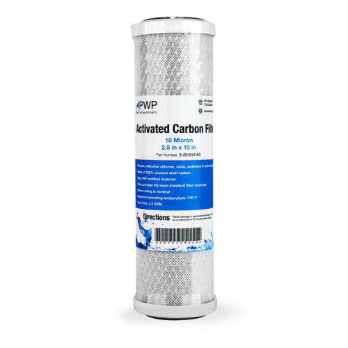 """Activated Carbon CTO Water Filter Cartridge Standard 2.5 x10/"""" 10 Micron 4 pack"""