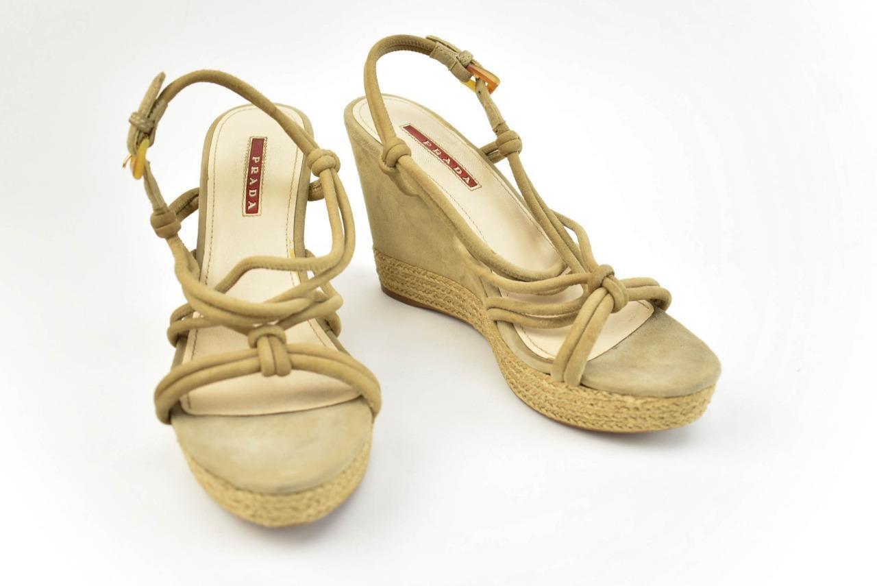 PRADA  Beige, Leather & Espadrille Wedge Sandals Heels Sz  7M