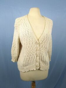 Purple-Clover-Size-L-Sweater-Cardigan-Knit-Cotton-Blend-Cream-3-4-Sleeve