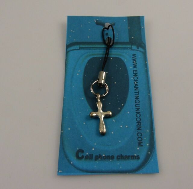 silvertone  Cross Cell phone or purse charm strap