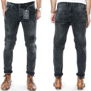 Denim-House-Herren-Slim-Tapered-Fit-Stretch-Roehren-Jeans-Hose-Cropped-6713