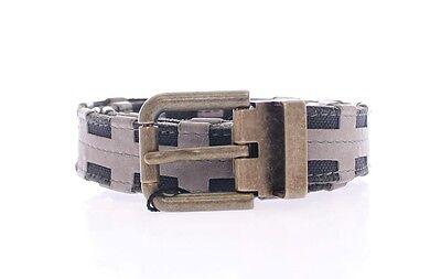NWT $540 DOLCE & GABBANA Belt Gray Cotton Leather Logo Waist Buckle s.100cm/40in