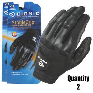 2-x-Bionic-Mens-StableGrip-Golf-Glove-Left-Hand-Black-Leather-28-95-ea