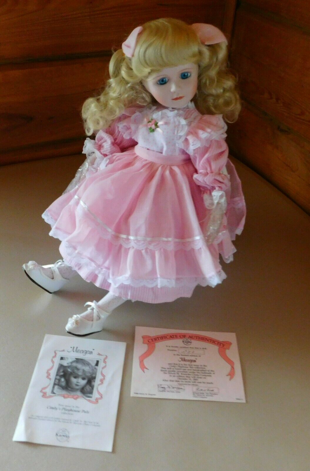 Edwin M Knowles 18  Porcelain  Meagan  Porcelain Doll By Cindy McClure Preowned