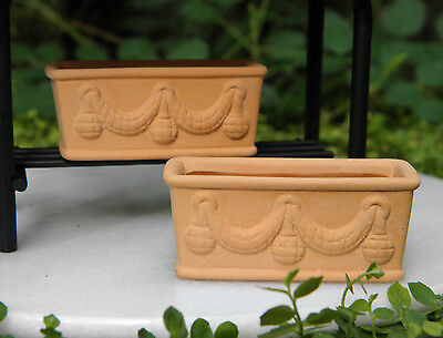 Miniature Dollhouse FAIRY GARDEN Accessories ~ Set / 2 Terra-Cotta Clay Planters
